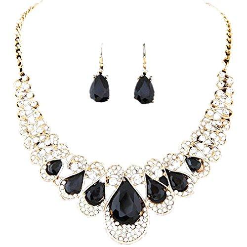 SMARTLADY - Mujeres Bohemia color Collar Aretes Joyería Conjunto (Neg