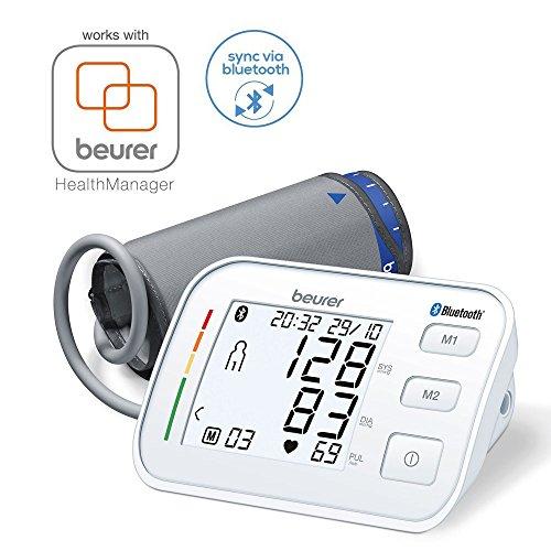 Beurer BM 57 digitales Bluetooth Oberarm-Blutdruckmessgerät, mit großer Manschette für Oberarmumfänge bis 43 cm