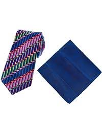 DUCHAMP London Men's 100% Silk Multicoloured Weaved Pattern Tie & Pocket Square Set