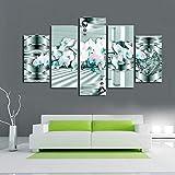 Ruifulex Ölgemälde auf Leinwand, 5 stücke rahmenlose Wand-dekor Wohnzimmer Schlafzimmer Hintergrund Kunst wandmalereien, Dekoration leinwanddrucke, blaues Herz weiße Blume