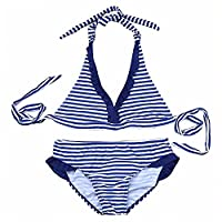 iEFiEL Girls Kids Striped 2 Pieces Swimsuit Tankini Sets Swimming Costumes Blue 12 Years