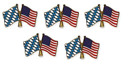 Yantec Freundschaftspin 5er Pack Bayern USA Pin Anstecknadel Doppelflaggenpin