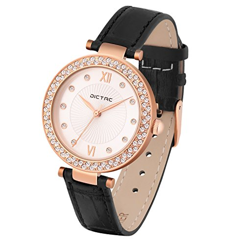 - 51lPeHtSd6L - Dictac Watch for Ladies Women with Calf Leather Band & Diamond Face Fashionable Wrist Watch Gold Silver Dark Blue Black (Model 139323)
