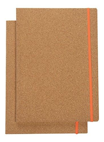 Computer con copertura in sughero–2-pack eco-friendly foderato quaderni a4, chiusura con elastico, viaggi, diari agenda, blocco per ufficio, scuola, studenti, 48fogli, 21.3x 29.7cm