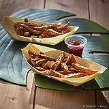 50 x Snackschalen natur 22cm | 100% kompostierbar | edel & dekorativ | Bio Einweg-Geschirr | Einwegschalen perfekt für Finger-Food | Party-Geschirr Holzschiffchen - 4