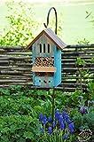 Nistkästen blau hellblau als Insektenhotels, Kombi Metallstiel mit Metallstiel / Schäferstab 1,25 m Höhe robust, BD-MMS Insekten Florfliegen Marienkäferhaus als Ergänzung zum Meisen Nistkasten Meisenkasten oder zum Vogelhaus Vogelfutterhaus Futterstation für Vögel
