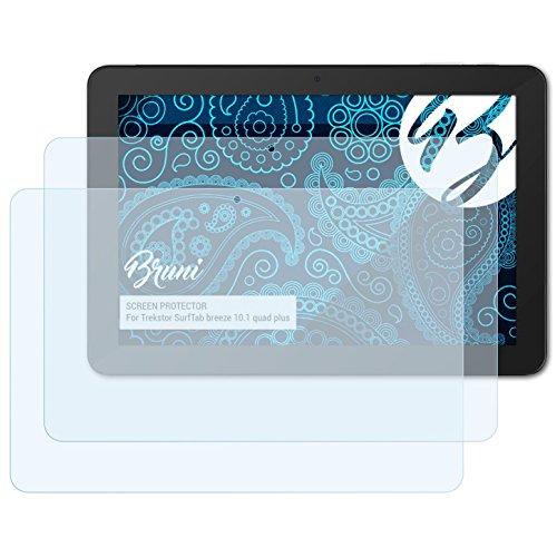 Bruni Schutzfolie für Trekstor SurfTab Breeze 10.1 Quad Plus Folie, glasklare Bildschirmschutzfolie (2X)