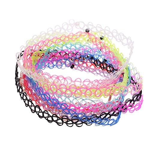 Sharplace 24 Stück Regenbogen Tätowierung Choker Halskette Gummi Tattoo Henna Elastische Halsband Set (24 Stück)