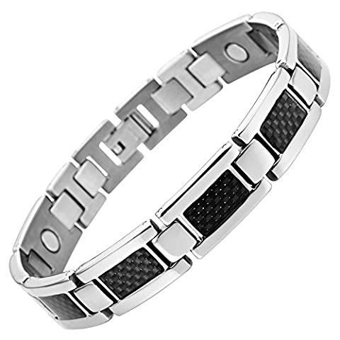 Willis Judd New Mens Titanium Magnetic Bracelet With Black Carbon Fibre Insets In Velvet Box with Free Link Removal Tool