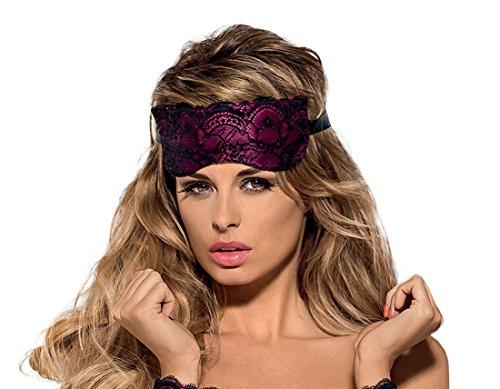 Obsessive edle Schlafmaske Augenbinde mit schicken Spitzenverzierungen und feiner Satinband-Schnürung in toller Geschenkbox