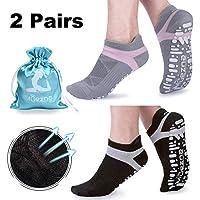 Muezna Yoga Socken Damen Frauen Mädchen rutschfest Atmungsaktiv Ideal für Yoga Pilates Tanz Fitness Sport Workout-Socken mit Baumwolle