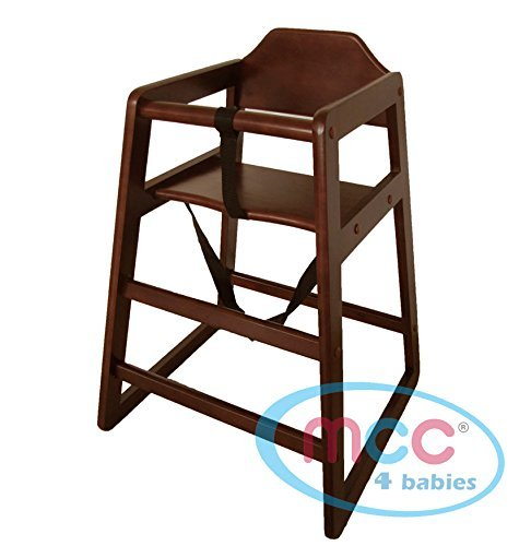 Walnut Colour Stackable Wooden Baby Highchair High Chair home & commercial restaurants by MCC