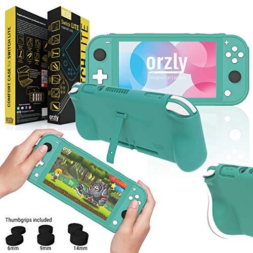 Orzly Coque pour Nintendo Switch Lite - Grip Case, Coque de Protection pour l'arrière de la Console Switch Lite en Mode 'Gamepad' avec poignées rembourrées & Support intégrées, et Thumbgrips - Orange