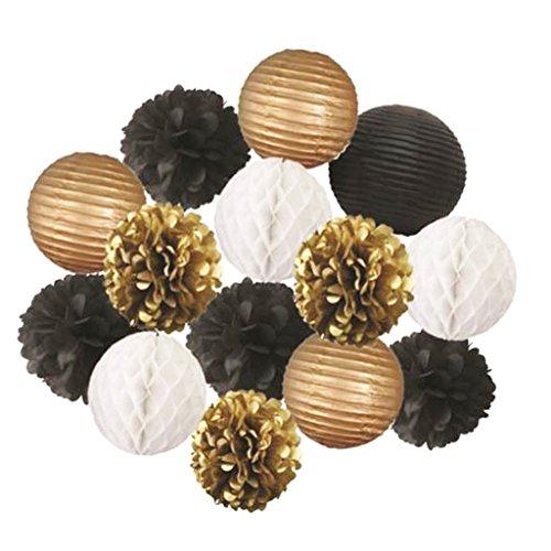 ier Wabenbälle Honeycomb Balls Fächer Girlande Lampions Laternen Set - Gold Schwarz Weiß PomPoms Laternen, 14pcs ()