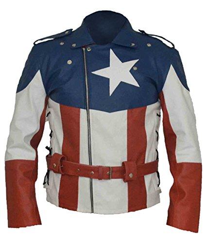 BSKULL Captain America First Avenger Faux Lederjacke (SMALL) (Erste Captain America Avenger Kostüm)