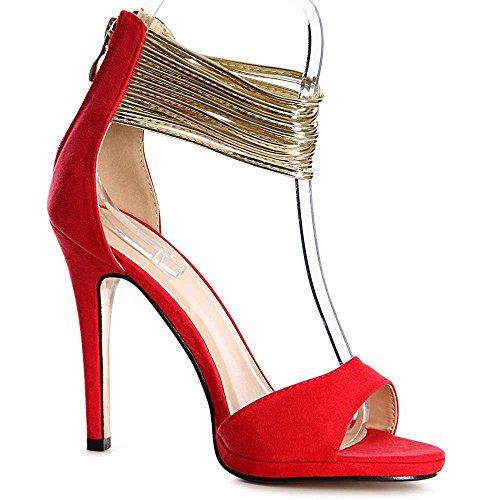 topschuhe24 1152 Damen Sandaletten Pumps Sandalen High Heels Rot