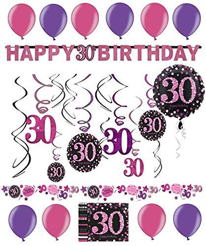 tion Deko-Set Pink Happy Birthday Partykette Girlande Konfetti Dreißig Jahre ()