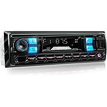 XOMAX XM-RSU255BT Autoradio DIN 1 (single DIN) Tamaño de montaje estándar + MOSFET + AUX-IN + 2 LED colores de iluminación: azul-rojo + WMA + MP3 + sin discos CD + USB y SD (128 GB por Medio) + Bluetooth manos libres y música + ISO + antena de radio
