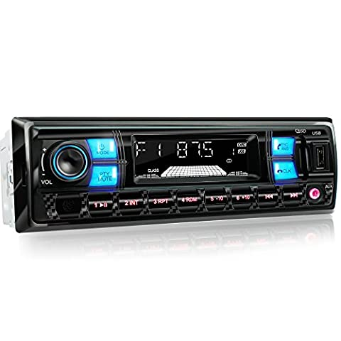 XOMAX XM-RSU255BT Car Stereo with Bluetooth Hands-Free Function + without CD drive + LED Colours blue-red + USB Port (up to 128 GB) & SD Card Slot (up to 128 GB) for MP3 and WMA + Auxiliary Input + Shorter Mounting Depth + Standard Single DIN1 Dimensions + Including