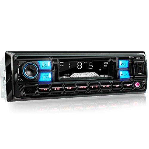 XOMAX XM-RSU255BT Autoradio mit Bluetooth Freisprecheinrichtung + RDS FM AM Radio Tuner + Beleuchtungsfarbe: blau-rot + USB Anschluss (bis 128 GB) & SD Kartenslot (bis 128 GB) für MP3 und WMA + AUX-IN + Single DIN (1 DIN) Standard Einbaugröße + inkl. Einbaurahmen