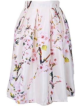 Mujer Falda Plisada Vintage Estampado Floral Falda de Playa Cintura Alta Vestidos