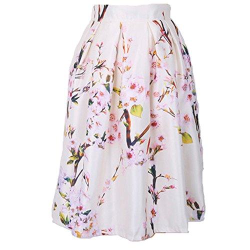 ZhuiKun Womens Floral Printed Skirts Ladies Elasticated Waist Midi Pleated Skirt