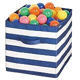 mDesign Organizer giocattoli – Contenitore portagiochi in stoffa ideale per cameretta o sala giochi – Box per giocattoli con maniglie – bianco/blu
