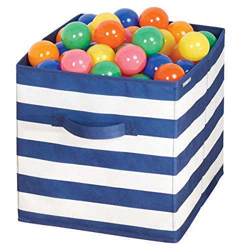 mDesign Caja organizadora para guardar juguetes – Cesta de tela a rayas para la habitación infantil o los dormitorios – Caja de tela con asas, ideal como juguetero – azul marino/blanco