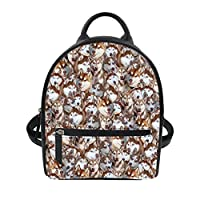 Coloranimal Womens Small PU Leather Backpack Cute Animal Print Shoulder Daypack