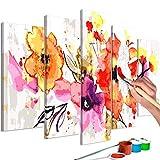 murando - Malen nach Zahlen Blumen 150x60 cm 5 TLG Malset mit Holzrahmen auf Leinwand für Erwachsene Kinder Gemälde Handgemalt Kit DIY Geschenk Dekoration n-A-0627-d-m