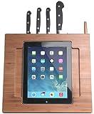 CTA Digital Supporto da Cucina Porta iPad Air e iPad 2/3 in Bambù Regolabile con Blocco Portacoltelli, Stilo Integrati, Marrone
