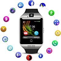 Smart Watch QIMAOO Q18 Reloj inteligente Bluetooth 3.0 HD Pantalla Análisis de Sueño, Podómetro, Fitness tracker con cámara TF / SIM ranura para tarjeta para hombres mujeres (Negro-Plata)