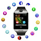 QIMAOO Q18 Smart Watch Bluetooth Sweatproof Wrist Watch Phone with Camera TF/SIM Card Slot for Android and IPhone Smartphones for Men Women (Black-Silver)