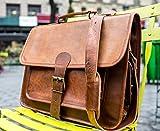 Shakun Leather Handgemachte Umhängetasche Laptoptasche Einzelverschluss, 11 x 15 NEU