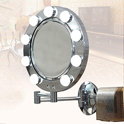 Spiegel - Make-up-Spiegel LED Falten Doppel Spiegel mit Lampe Teleskop Badezimmer mentale Silber Spiegel Zweifarben Dimmen Kontaktschalter Wandleuchte Spiegel Willkommen (Plug-in Hängenden Laterne)