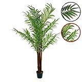 Künstliche Kokospalme Kunstpflanze Kunstbaum mit vielen Wedeln Echtholz-Stamm und Topf - Gesamthöhe 140 150 cm Größe wählbar