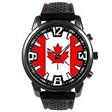 Timest - Kanada - Länder Flaggen Herrenuhr mit schwarzem Silikonarmband Rund Analog Quarz SF037