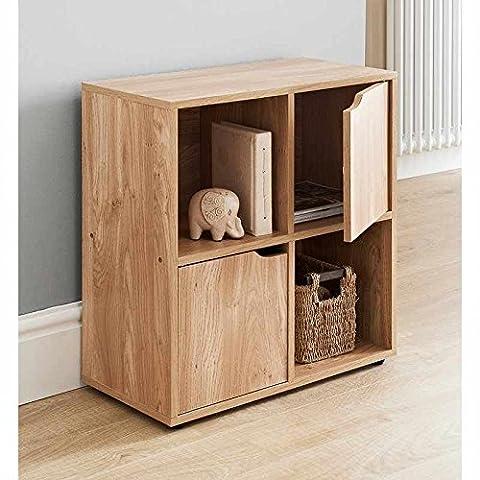 4 Cube MDF Oak Finish Standing Shelf / Shelves 2 Doors 2 Open Cubes Bookcase Office Home Storage