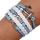 Hoveey Geflochtenes Armband Infinity Love Anchor Peace mit echtem Lederband Stilvolle Uhr für Frauen Mädchen