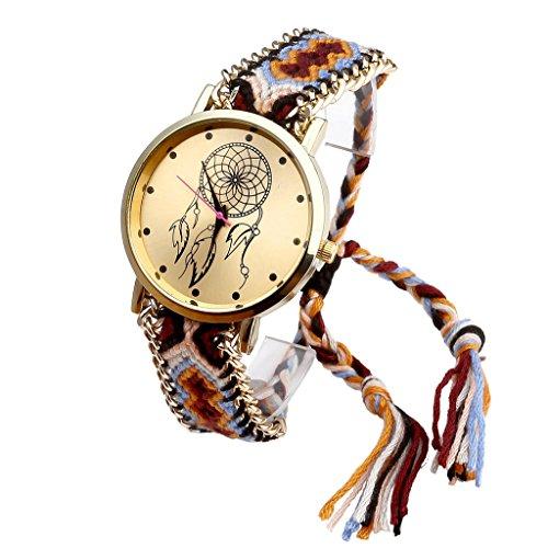 JSDDE Uhren,Damen Ethnisch Dreamcatcher Traumfaenger Freundschaft Braid Armbanduhr gewebte Seil Band Quarzuhr,Orange+Schwarz - 2