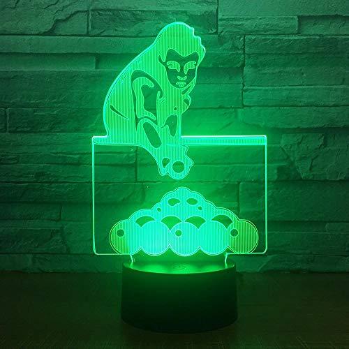 Yoppg 3D Nachtlicht Touch Switch LED7 Farbe Desktop Optische Täuschung Usb Oder Batteriebetriebene Billard Berühren Sie