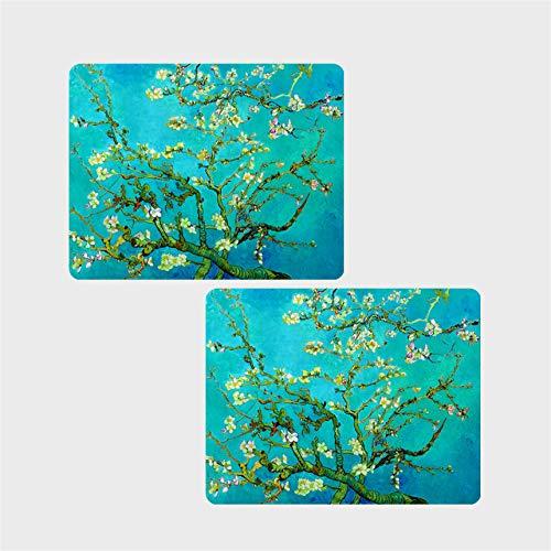 E-Living 26,7x 19,1cm, rutschfestes Gummi Büro/Spiel Maus Pad-4Designs mit Van Gogh/Monet Ölgemälde Masterpieces (Almond Blossom/STARRY NIGHT/Seerosen) Almond Blossom Bottle Neoprene Wine Tote Bag