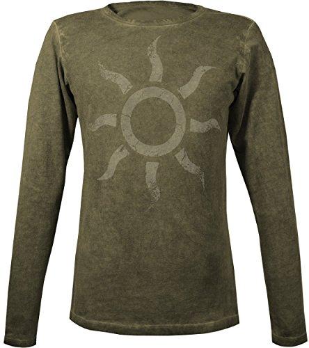 Musterbrand-The-Witcher-Langarm-T-Shirt-Herren-Nilfgaardian-Golden-Sun-Geralt-Outfit-Grn