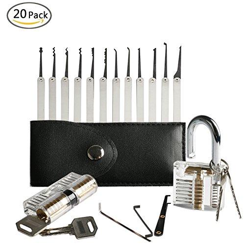 AMILE 20 Stück Dietrich Set Werkzeuge mit Transparent Praxis Vorhängeschloss für Anfänger und Schlosser (Picking Schraubenschlüssel Lock Spannung)