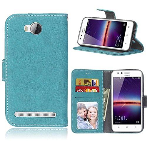 LMAZWUFULM Hülle für Huawei LUA-L21 / Y3 II 4,5 Zoll PU Leder Magnet Brieftasche Lederhülle Gefrostet Design Standfunktion Ledertasche Flip Cover für Huawei LUA-L21 / Y3 II (4,5 Zoll) Blau