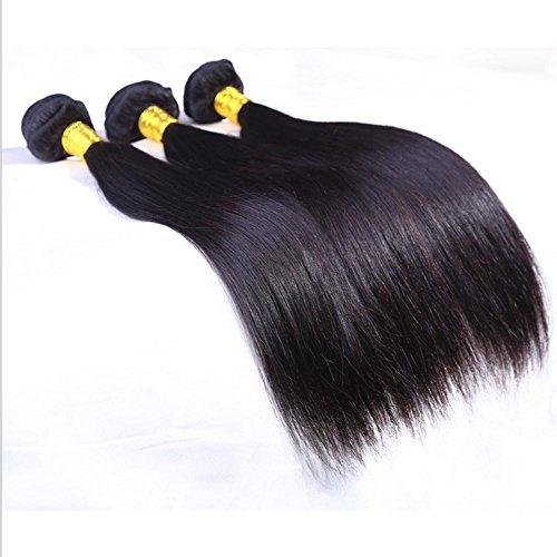 XYLUCKY Haarverlängerungen 100 % Virgin brasilianischen natürlichen geraden menschlichen Haar Weben Erweiterung unverarbeitete 3er Pack Bundle schwarz , 16 18 20 - Curly Menschliches Weben