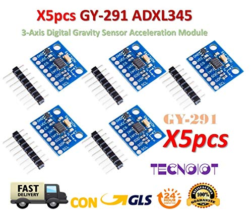 TECNOIOT 5pcs GY-291 ADXL345 3-Axis Digital Gravity Sensor Acceleration Module Tilt