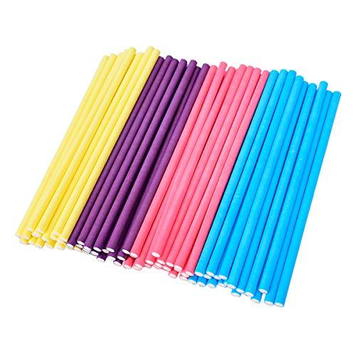 LegendTech 400PCS Bunte Lutscher-Stick Pop-Kuchen-Papier-Stick Lebensmittelqualität Papier für die Herstellung von Schokolade und Bonbons Lutscher Stiel 10 * 0.35cm Gelb Blau Lila Rosa