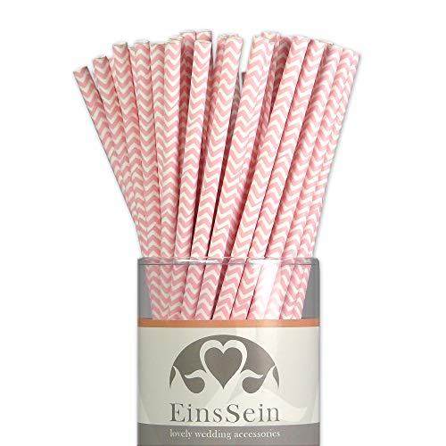 EinsSein 100x Papierstrohhalme Wave rosa Hochzeit Party Geburtstag Strohhalme Trinkhalme Cake Pops Sticks und Candy Bar-Zubehör Stiele Papier Pappgeschirr Straws