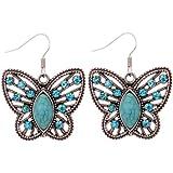 Yazilind Tibetan Silver Hollow Butterfly Carve Blue Crystal Waterdrop Turquoise Dangle Earrings